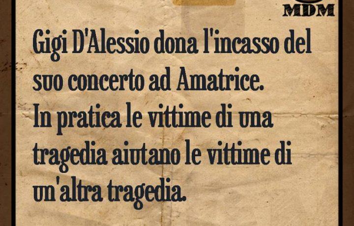 Gigi D'Alessio dona l'incasso del suo concerto ad Amatrice